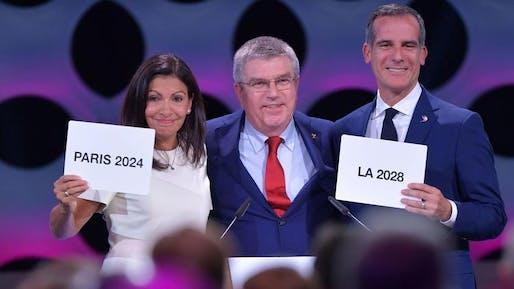 Paris Mayor Anne Hidalgo, International Olympic Committee President Thomas Bach and L.A. Mayor Eric Garcetti