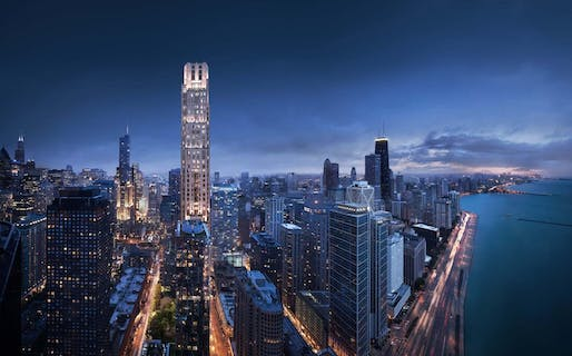 Rendering of the nearly completed One Bennett Park skyscraper, Stern's first in Chicago. Image: Robert A.M. Stern Architects.