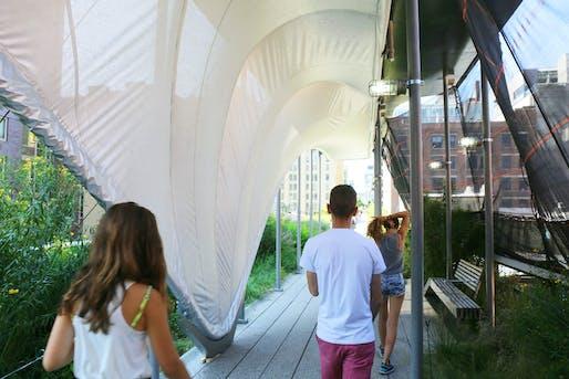 Zaha doesn't do safety canopies. Zaha does sculptural installations. Meet Allongé. (Photo: Scott Lynch; Image via curbed.com)