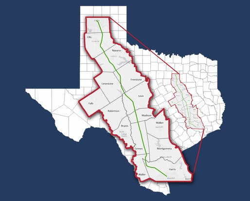 Map showing proposed route for the Texas Central bullet train. Image courtesy of Texas Central.