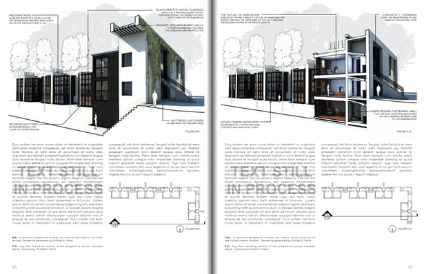 Perspectival Sections Through Exterior Stairs and Private Rooms