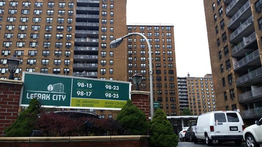 View of the LeFrak City public housing development in New York City. Image courtesy of Fickr user
