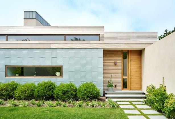 Mahogany rain screen exterior w/ zinc details. Joshua McHugh Photography