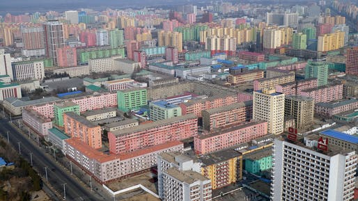 Aerial photograph of Pyongyang, North Korea.
