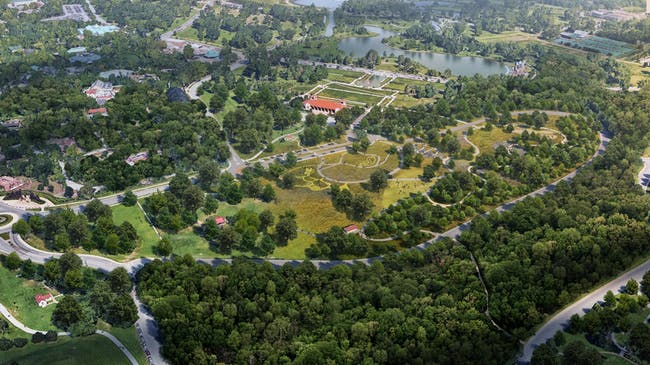 Aerial view of Nature Playscape. Image courtesy of Forest Park Forever.