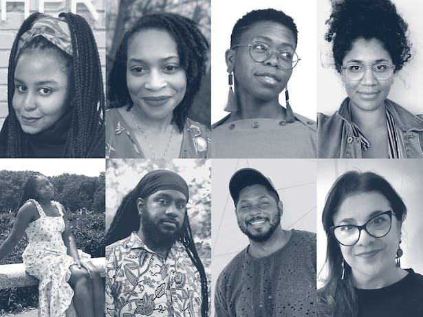 Shiraz Gallab, Jameka Hartley, Jess Myers, Jacqueline Shaw, Naimah Pétigny, Christopher Roberts, Derrick Woods-Morrow and Mariela Yeregui. Images courtesy of faculty.