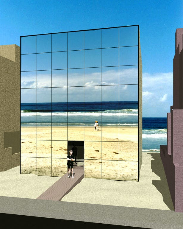 The Malibu Video Beach House. Real time video cameras mounted onto the beach side of the house send images and sounds to the street side of the house and onto a large wall clad with video screens.
