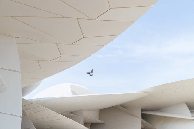 Close-up of interlocking discs of the new National Museum of Qatar designed by Jean Nouvel. Photo: Iwan Baan.