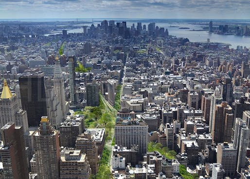 Illustration of Perkins Eastman's proposal of a 'Green Line' park cutting straight through Manhattan. (Image via citylab.com)