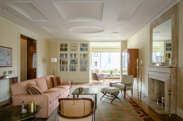 Living room with custom rug.