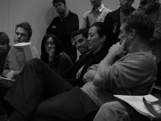 Critics Jennifer and Alan observing a project