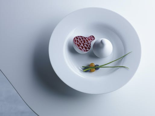"3D printed, Yogurt Plum from Philips Design Probes as an exploration on the future of food and how we may source, produce and consume food in the future. © Philips. Image courtesy of AA Visiting School, ""Play With Your Food""."