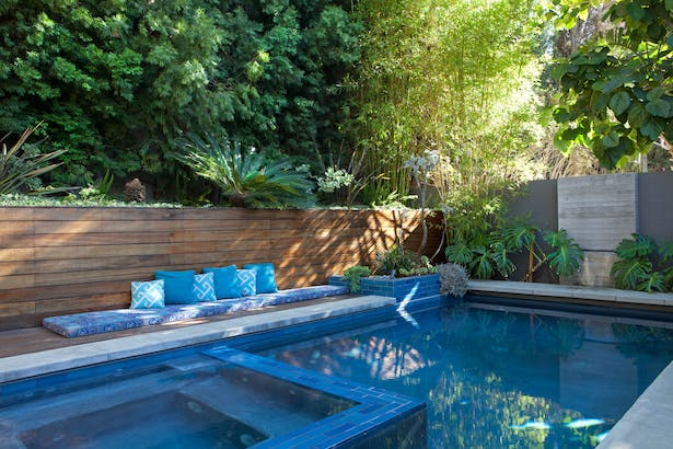 A view of the rear gardens and pool, by Elysian Landscapes (Judy Kameon)