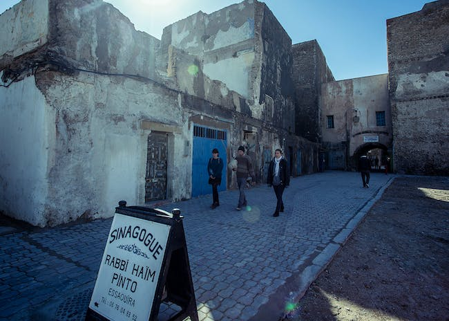Jewish Quarter of Essaouira, Morocco. A road in the Jewish Quarter towards the historic Haim Pinto Synagogue, 2017. Photo: Amine Bennour