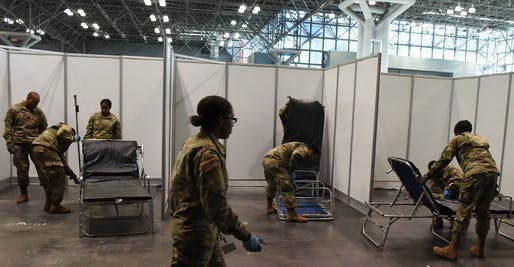 View of the temporary hospital facility setup at the Javits Center in New York City. Image courtesy of New York National Guard.
