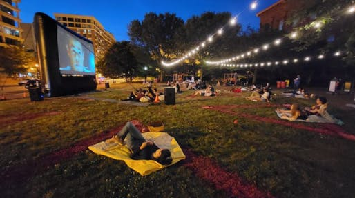 Opening night of DowntownDC Flicks–Can I Kick It? on the West Lawn. Photo: DowntownDC Business Improvement District/National Building Museum