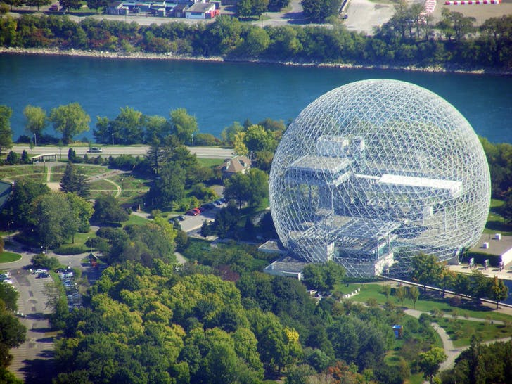 View of the Buckminster Fuller-designed Montreal Biosphere created for the Expo 67 World's Fair in Montreal. Image courtesy of Flickr user Abdallahh.