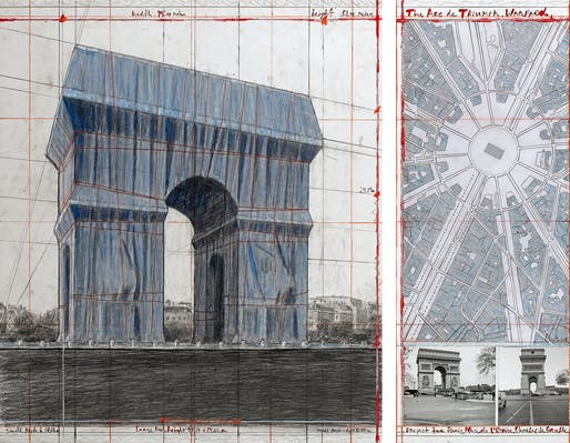 "Christo, The Arc de Triumph, Wrapped, Project for Paris, Place de l'Etoile, Charles de Gaulle, Collage 2018 in two parts, 30 1/2 x 26 1/4"" and 30 1/2 x 12' (77.5 x 66.7 cm and 77.5 x 30.5 cm), Pencil, charcoal, wax crayon, fabric, twine, enamel paint, photograph by Wolfgang Volz, hand-drawn map..."