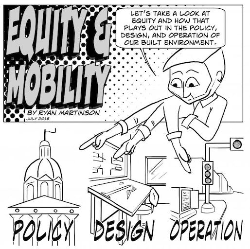 Summer issue of Transportation Talk comic by Ryan Martinson. Image: Equity & Mobility.