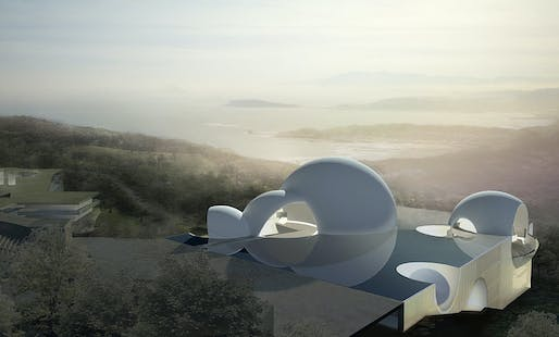 Rendering of the ChinPaoSan Necropolis project in Taipei, Taiwan by Steven Holl Architects.