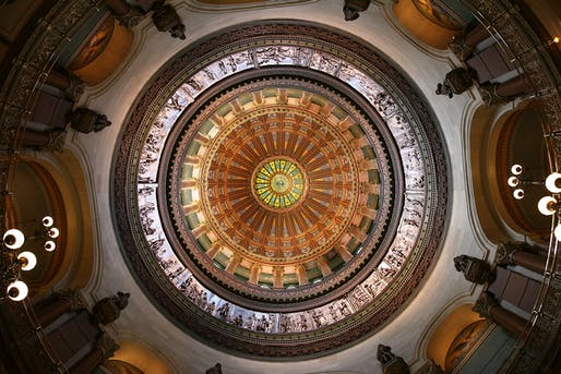 Photo of the Illinois State Capitol dome interior. Image courtesy of Wikimedia user Daniel Schwen.