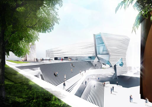 View of the grand outdoor stair joining the museum to Argyros Plaza. Image: Morphosis Architects.