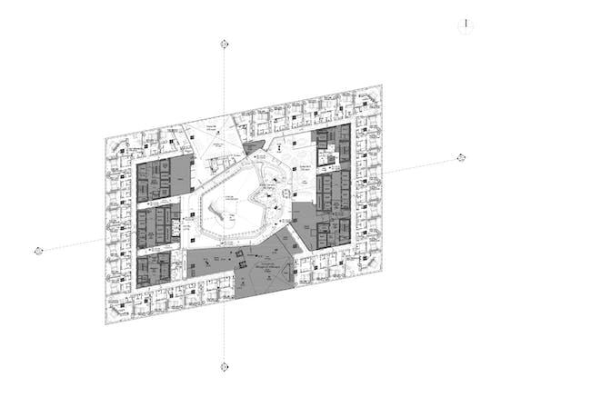ZHA: Opus, Podium, Hotel Floor 1. Image courtesy of Zaha Hadid Architects.