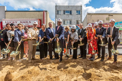 Politicians and municipal representatives break ground on a $139 million project to revitalize Downtown Far Rockaway. Photo courtesy of the NYC Department of Design and Construction​.