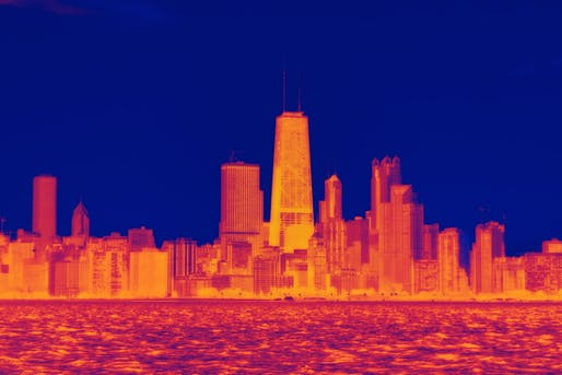 Thermal simulation of Chicago, IL. Image © Dustin Phillips