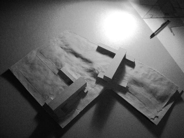 Massing study, clay and chipboard