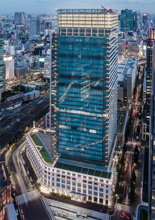 Bird's-eye view of the soon-to-be-opened Japan Post Tower in Tokyo (Photo courtesy of JAHN)