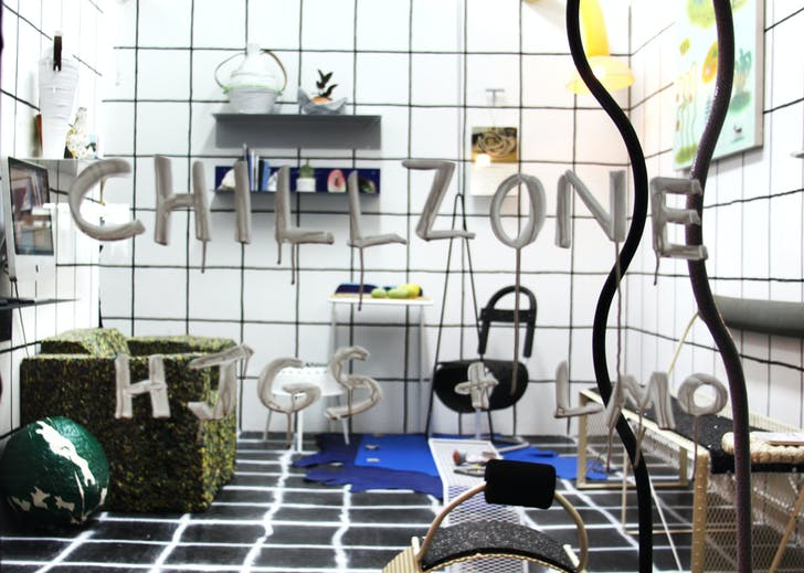 An installation shot from 'the Chillzone', curated by Zoe Fisher with Elise McMahon of LikeMindedObjects. Image courtesy of Hand Job Gallery Store.