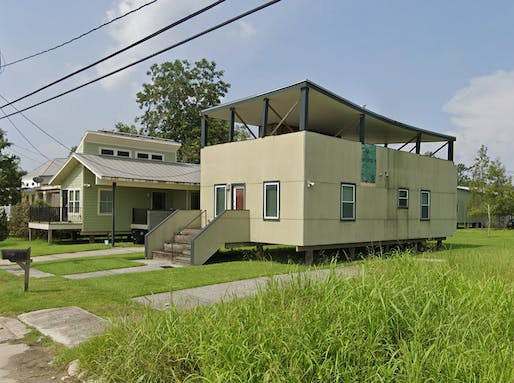 "David Adjaye's Make It Right house at 1826 N. Reynes St in NOLA's Lower 9th Ward has been scheduled for emergency demolition. Image via <a href=""https://www.google.com/maps/place/1826+Reynes+St,+New+Orleans,+LA+70117/@29.9703714,-90.0196834,3a,75y,260.38h,88.6t/data=!3m6!1e1!3m4!1sEO5RdK1ZxIrfE_4hm5_-1g!2e0!7i16384!8i8192!4m5!3m4!1s0x8620a7de47eafd99:0x38c63aa1cc0890ef!8m2!3d29.9703708!4d-90.0198765"">Google Street View</a>"