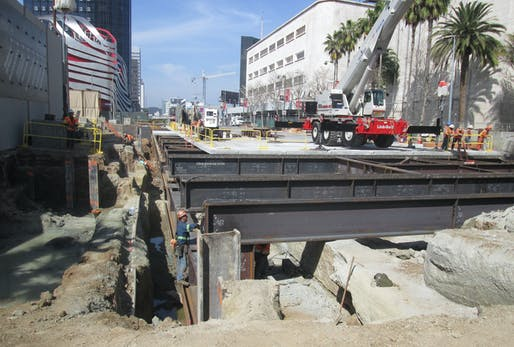 Photo showing subway construction along L.A.'s Miracle Mile district. Photo courtesy of LA Metro's Flickr account.