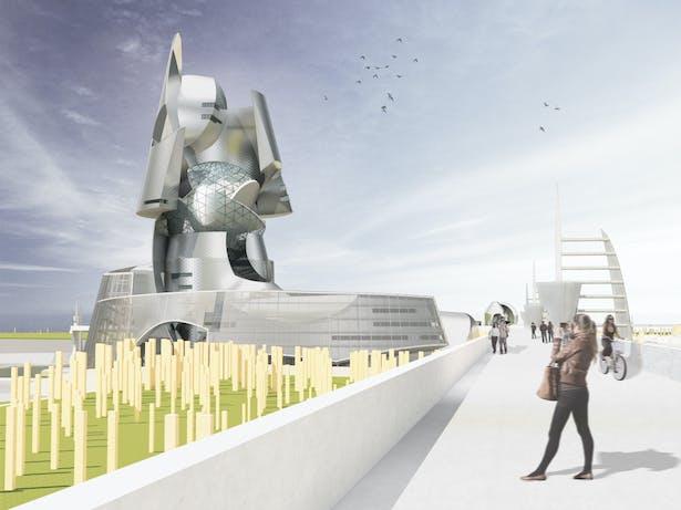 The Public City - walking bridge view