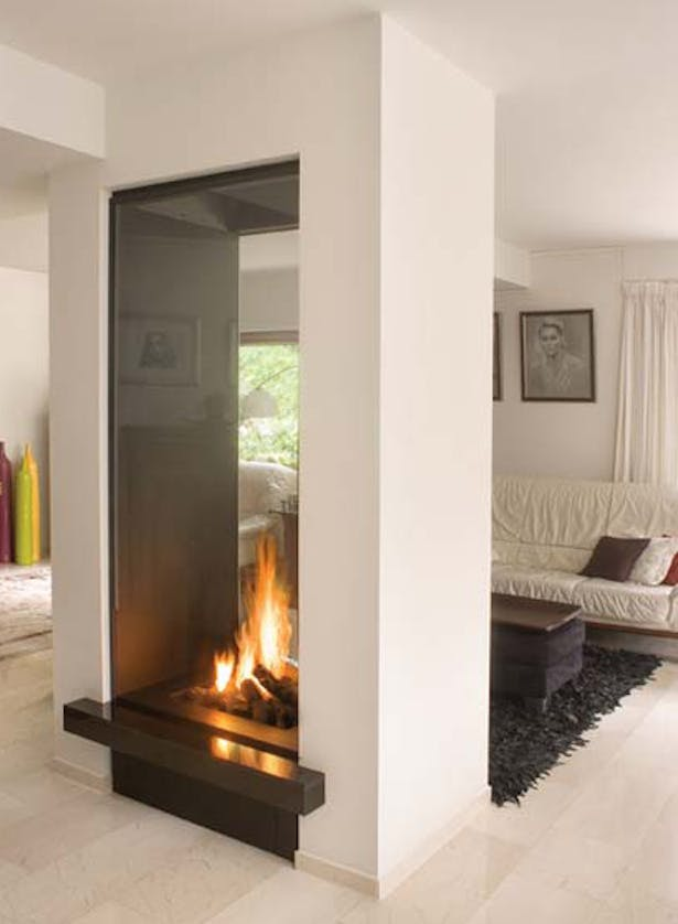 Bloch Design double sided fireplace