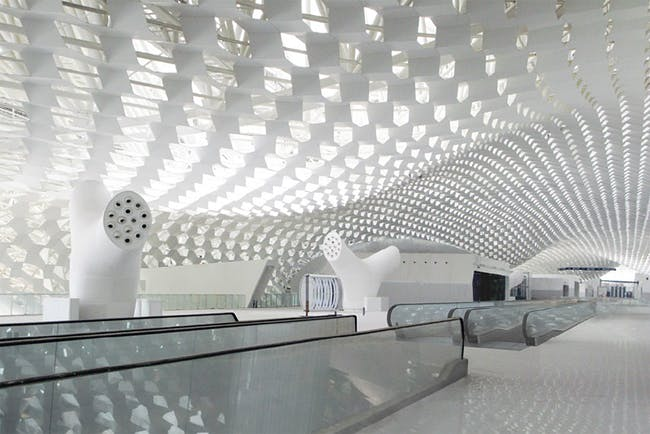 Interior view with honeycomb pattern reflected from above. Image © Studio Fuksas