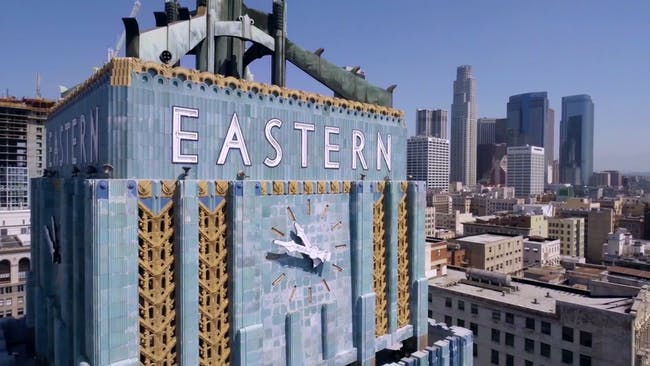 Screen shot from 'Downtown Los Angeles' flyover, taken with a drone.