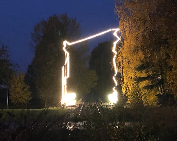 Built Light installation and entry to the site