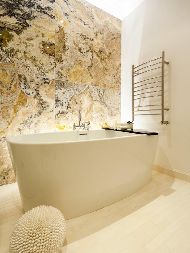 Master Bathroom - Floor-to-Ceiling Onyx Panels