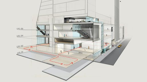 "From the NY Times: ""A north/south view of a rendering of MoMA looking east along Fifty-Third Street. The second-, fourth- and fifth-floor galleries will continue to form the chronological spine of exhibitions, but in expanded form. The red line on the second floor traces the expansion into the former Folk Art Museum and the Jean Nouvel building. The fourth and fifth floors contain the Studio. The second floor houses the Daylit Gallery. At street level are a gallery and the Projects Room..."