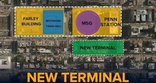 Proposed plan highlighting where the new train terminal would be located. Image courtesy of the office of New York State Governor Andrew Cuomo.