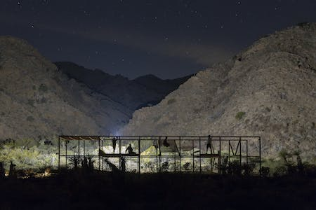 'Extent': a hyper-programmed structure sits in the subtle landscape of Morongo Valley, California. Team lead by Kyle May, Architect. Photo by Daniel Schwartz.