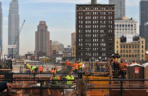 A Hudson Yards building under construction (Urban Omnibus; Photo by Steven Severinghaus)