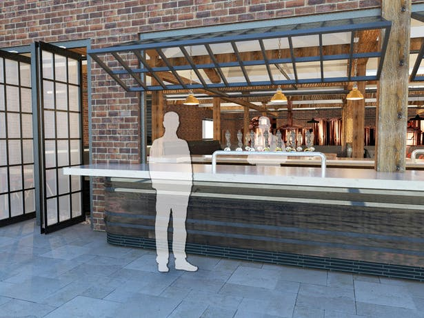 Windows and doors pivot to bring light and fresh air into the restaurant