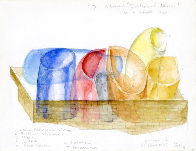 'Bottles of Light' sketch for Chapel St. Ignatius at Seattle University. Courtesy of Steven Holl Architects.