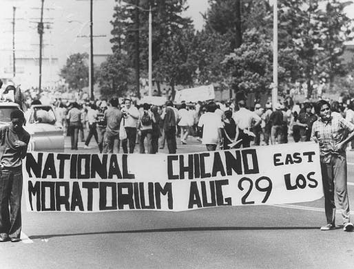 The Chicano Moratorium began as a peaceful march, but ended in a riot when Los Angeles County Sheriffs brutally disbanded a gathering following the protest. Photo by Sal Castro/Los Angeles Public Library.