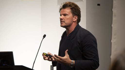 Bjarke Ingels speaking at Columbia University. Image courtesy of Columbia University.