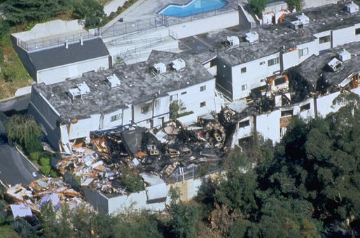 View of the damage from the 1994 Northridge Earthquake in Los Angeles. Image courtesy of FEMA Photo Library.
