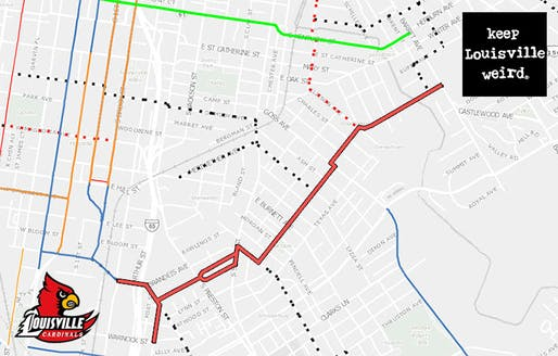 One of Louisville's Neighborways routes, noted in red, connects the University of Louisville to the Highlands. (via brokensidewalk.com; Courtesy Bike Louisville, Montage by Broken Sidewalk)